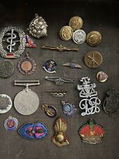 More details for job lot military army raf cap badges medal sweetheart etc
