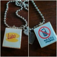 """Double-Sided Gilmore Girls Luke's Diner """"No Cell Phones"""" Scrabble Tile Necklace"""