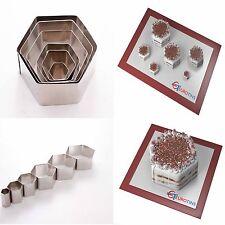"""Hexagon Shape Steel Cookie Cake Fondant Cutter 1"""" deep set of 6"""