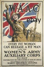 WW1 WOMEN'S ARMY AUXILIARY CORPS WAAC BRITISH ARMY NEW A4 PRINT