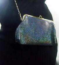 Petite pochette sac de soirée rétro pinup noir effet paillettes clic clac glamou