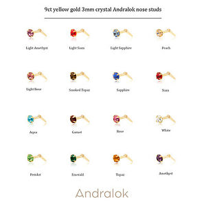 9ct yellow gold 3mm round crystal Andralok nosestud / nose stud