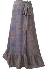 Unique Silk Wraparound Flamenco Frill Tie Skirt Flared Purple Gold Boho Festival