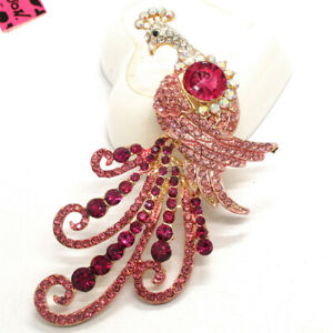 Hot Rhinestone Peacock Pink Crystal Animal Betsey Johnson Charm Brooch Pin