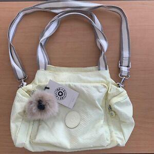 Kipling Yellow/Lemon Subtle Dot Cyrille Bag June Monkey NWT