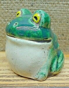 Ceramic Figurine Small Frog Art Decor Decoration Sculpture Handmade Collectible