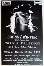 JOHNNY WINTER / CAIN'S BALLROOM 1998 TULSA CONCERT TOUR POSTER- Blues Rock Music