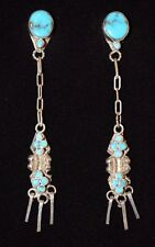 Earrings Turquoise Native American Drops Link Design Sterling Zuni Artist d Quam