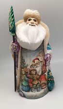 "12.5"" Russian SANTA CHILDREN CHRISTMAS SCENE Wooden Hand Carved Hand Painted"
