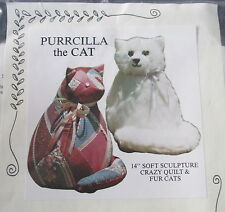 "Vtg 80s Cardin Originals Craft Pattern Purrcilla Cat 14"" soft sculpture kitty"