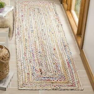 Rug Runner Jute Cotton Handmade Braided Style Carpet Reversible Rustic look Rug