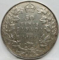 CANADA 50 cents 1916 VF+ Silver Britain George V. World War I. #C09