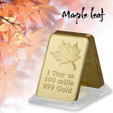 WR 24K Gold Clad Bullion Bar Canadian Maple Leaf Challenge Bar Gifts Collectible