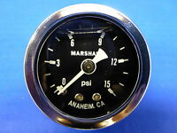 "Marshall Gauge 0-15 psi Fuel Pressure Oil Pressure  Black 1.5"" Diameter Liquid"