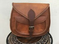 Women's Vintage Rugged Brown Leather Messenger Purse Hobo Shoulder CrossBody Bag