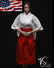 "1/6 Japanese Kimono Miko Costume Dress For 12"" Phicen Hot Toys Female Figure USA"
