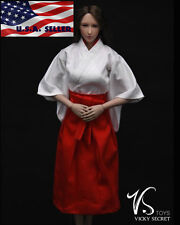 "1/6 Japanese Kimono Miko Costume Dress For 12"" Phicen Hot Toys Female Figure USA"