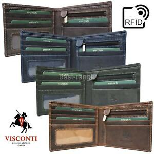 Mens Wallet Real Leather Bifold with Coin Pocket RFID New in Box Visconti 707