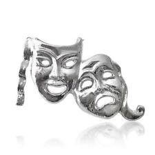 SILVER Plated Commedia Tragedia Teatro Maschera bavero pin badge Taglia 25x15mm