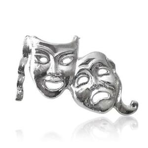 Silver Plated Comedy Tragedy Theatre Mask Lapel Pin Badge Size 25x15mm