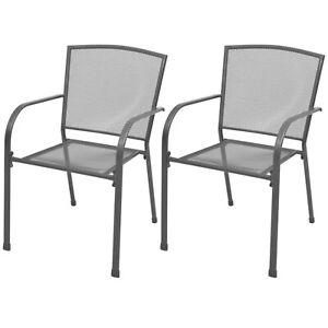 Stackable Garden Chairs Outdoor Patio Metal Dining Mesh Seats Grey 2 Pieces