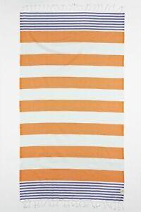 "EVE & AL 39""x73"" Marine Stripe Turkish Cotton Beach Yoga Towel Orange & Purple"