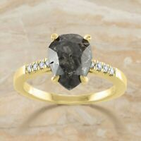 1.60 Ct Pear Salt And Pepper Diamond 14K Solid Gold Engagement Wedding Gift Ring