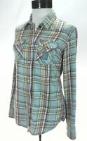 SUPERDRY & Co Plaid Flannel Western Snap L/S Pale Mint Green Multi Top Women's S