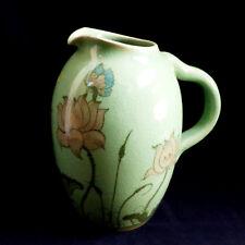 VTG Baan Celadon Thailand Ceramic Hand Painted Floral & Butterfly design Pitcher