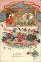 Easter - Little Girl & Giant Rabbits - Colorful Flowers c1910 Postcard