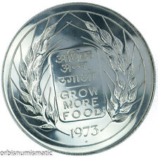 INDIA 20 RUPEES 1973 SILVER BU FAO GROW MORE FOOD PERFECT GEM COIN ZG71