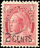 Canada Used F+ Scott #87 1899 2c-on-3c Provisional Stamp