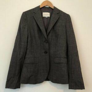 BANANA REPUBLIC Black Gray ish WOOL Blend Two Button Work Suit Jacket Blazer 8