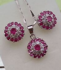 Natural Ruby Red Stones WHITE CZ  Necklace Earrings set
