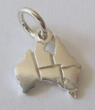 SOLID 925 STERLING SILVER AUSTRALIA MAP Charm/Pendant