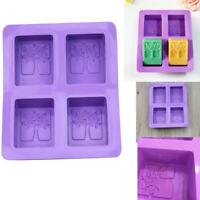 4-cavity Rectangle Tree Soap Mold Cake Mold Silicone Resin Mould Chocolate DIY