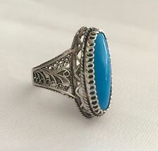 Woman's Vintage  Ring Size 8 BLUE  STONE Sterling Silver