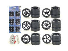 WHEELS & TIRES SET BLACK REPLACEMENT RIMS FOR 1/24 SCALE CARS AND TRUCKS 2003B