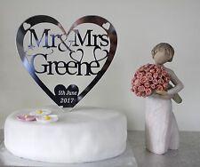 Personalised wedding cake topper Mr&Mrs Mirror acrylic bridal heart keepsake