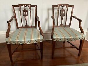 SET SIX Hepplewhite chairs 2 ARM 4 SIDE 19th C New York carved mahogany drapery