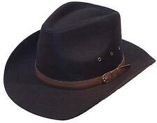 Mens gents noir 100% coton cowboy stetson style chapeau 57CM s/m neuf