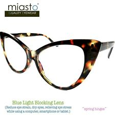 MIASTO BIG CAT EYE COMPUTER READER READING GLASSES +3.25 BROWN (ANTI-BLUE LIGHT)