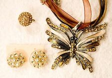 jewelry set amber glass crystal BUTTERFLY pendant earrings ring silver tone