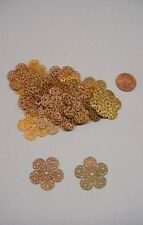 Vintage Raw Brass 5 Petal Filigree Stampings 36 pieces - Nice for Wrapping