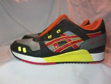ASICS GEL LYTE III 3 athletic Sporty Shoes Black/Gray/Red/Yellow HQ81K Men's 10