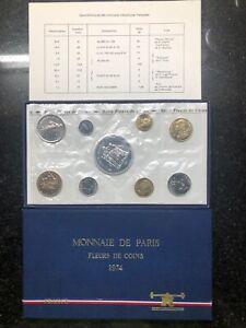 France 1974 9 coin Set Fleurs de Coins Monnaie De Paris original box w/ silver