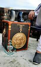 Finest English Leather Antique Inspired Side Table Trunks Lion Face Handmade