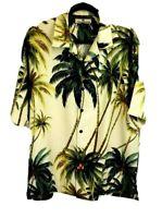 Tommy Bahama Size Medium Silk Hawaiian  Aloha Shirt Palm Trees Yellow