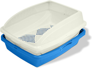 19'' x 15.13'' CP5 Sifting Cat Pan/Litter Box With Frame Blue/Gray Durable NEW