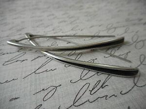 Silpada Long Oxidized Sterling Silver 925 Folded Threader Earrings   A18A4